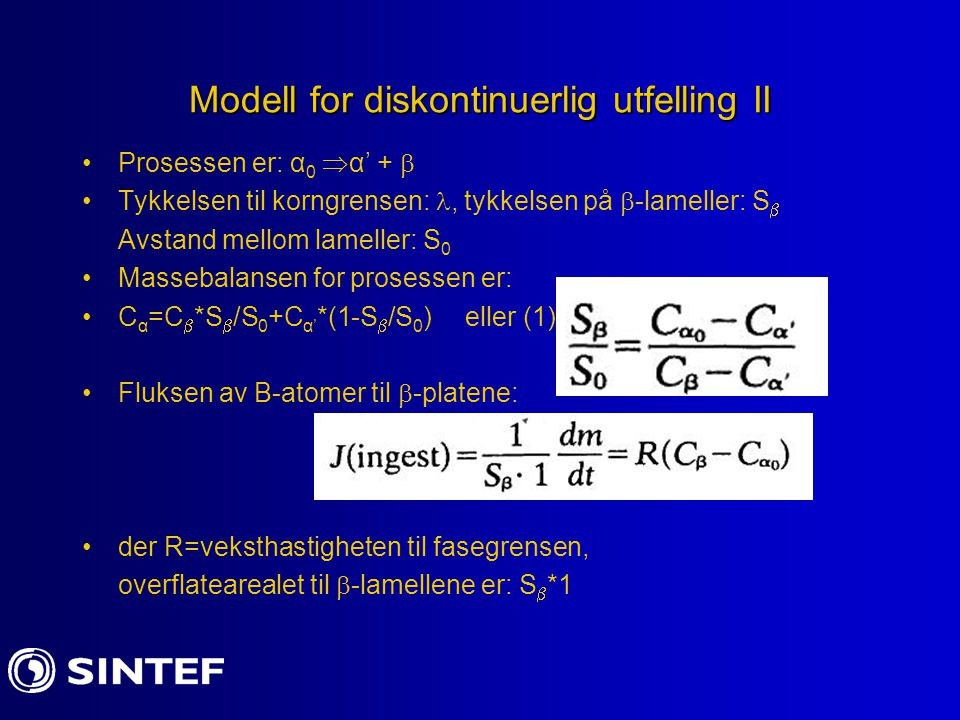 Modell for diskontinuerlig utfelling II