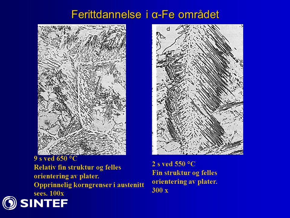 Ferittdannelse i α-Fe området