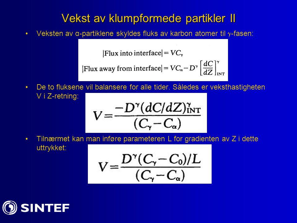 Vekst av klumpformede partikler II