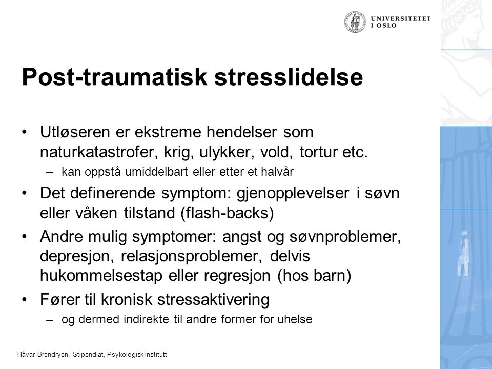 Post-traumatisk stresslidelse
