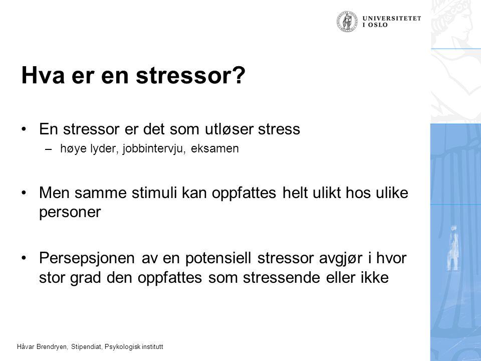 Hva er en stressor En stressor er det som utløser stress