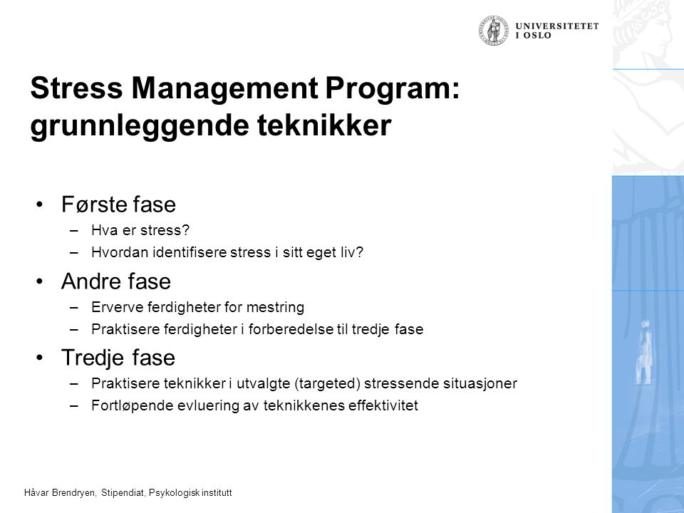 Stress Management Program: grunnleggende teknikker