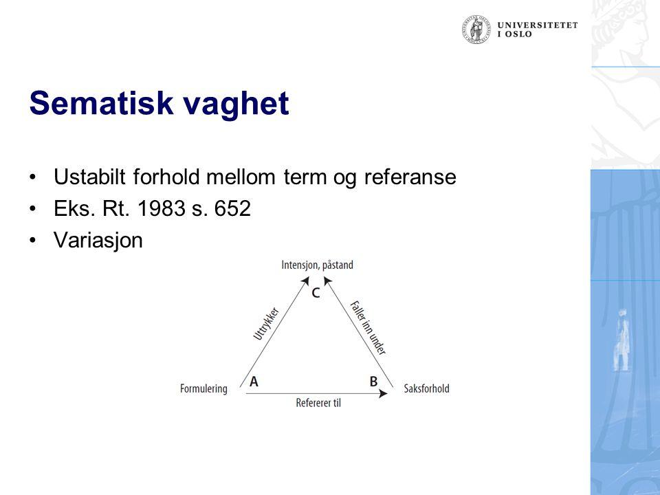 Sematisk vaghet Ustabilt forhold mellom term og referanse