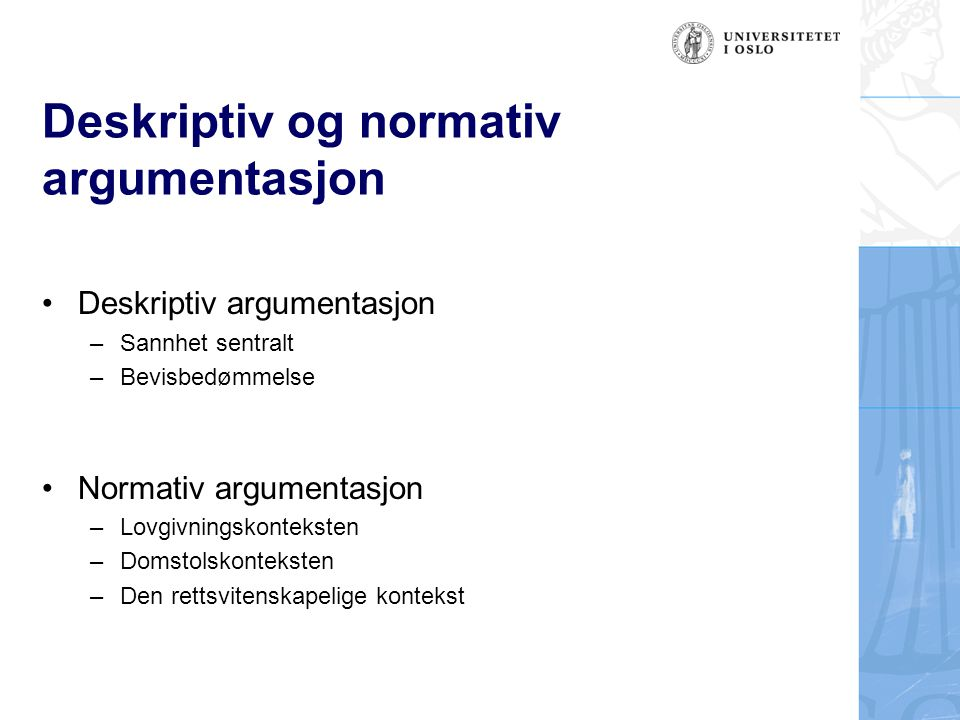 Deskriptiv og normativ argumentasjon