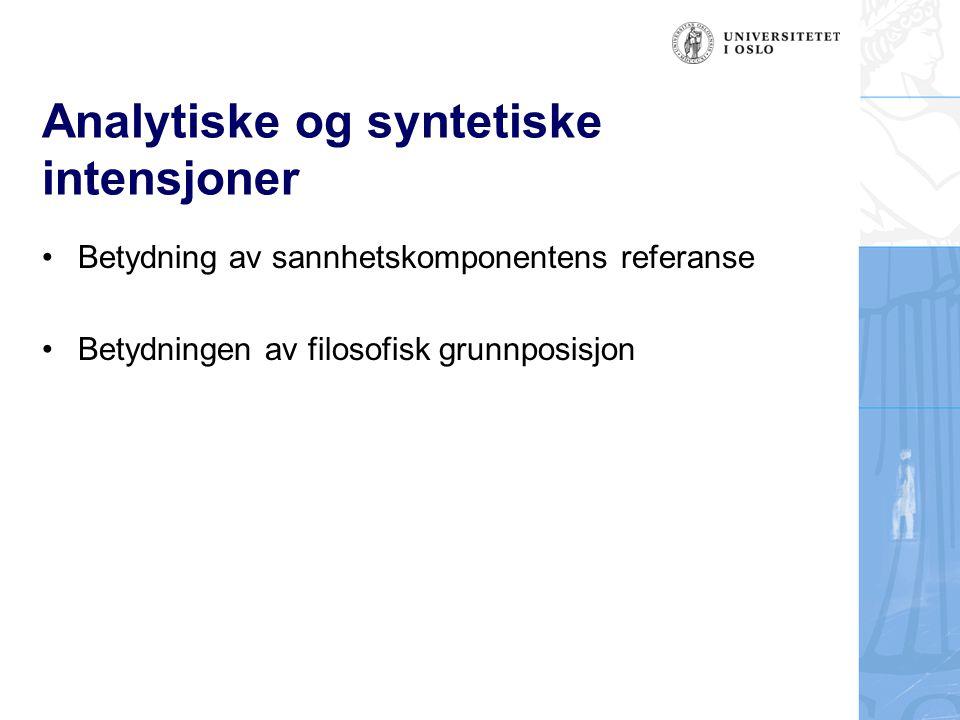 Analytiske og syntetiske intensjoner