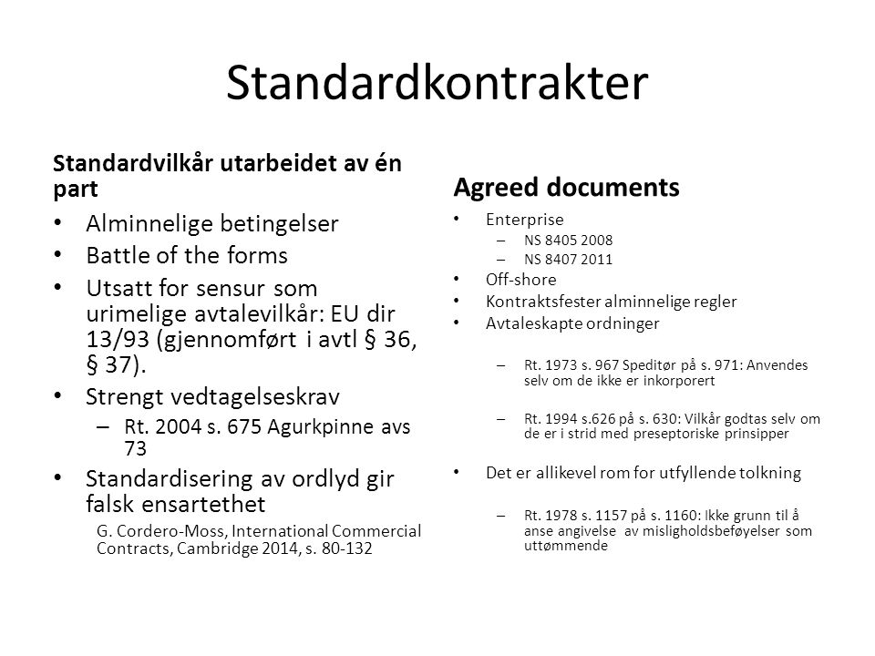 Standardkontrakter Agreed documents