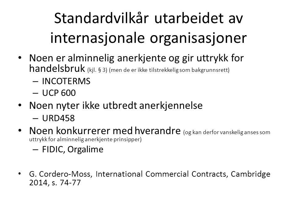 Standardvilkår utarbeidet av internasjonale organisasjoner