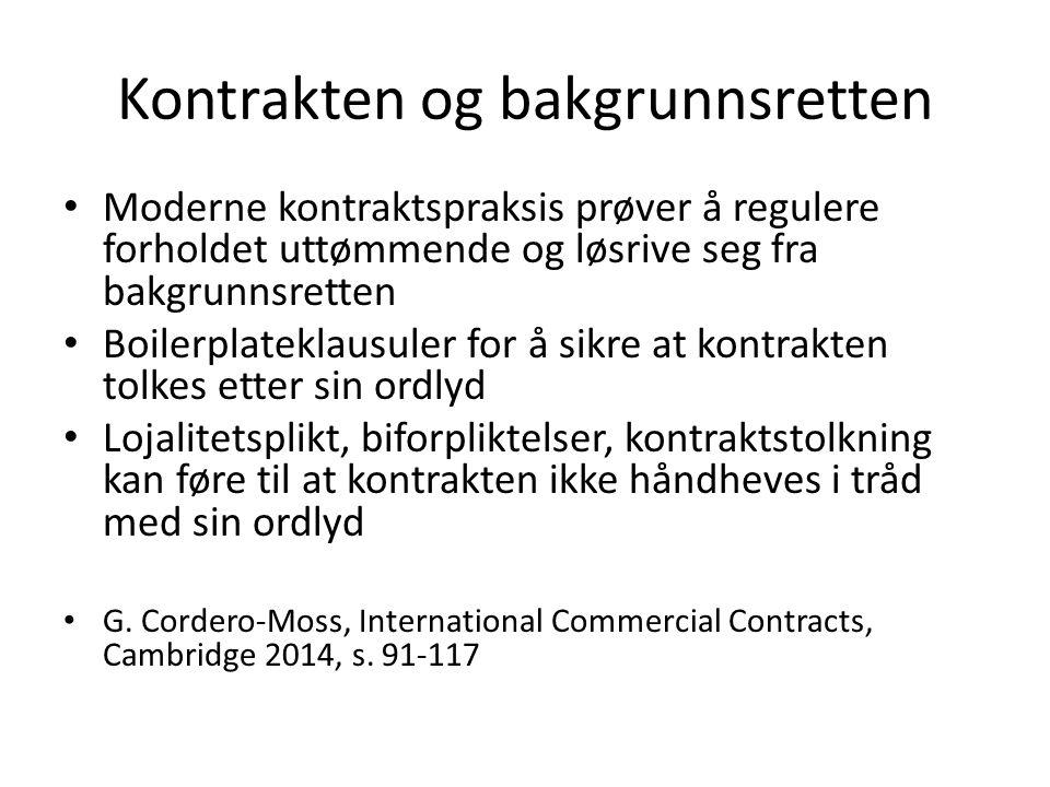 Kontrakten og bakgrunnsretten