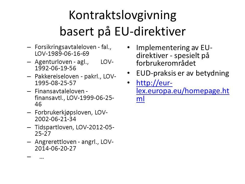Kontraktslovgivning basert på EU-direktiver