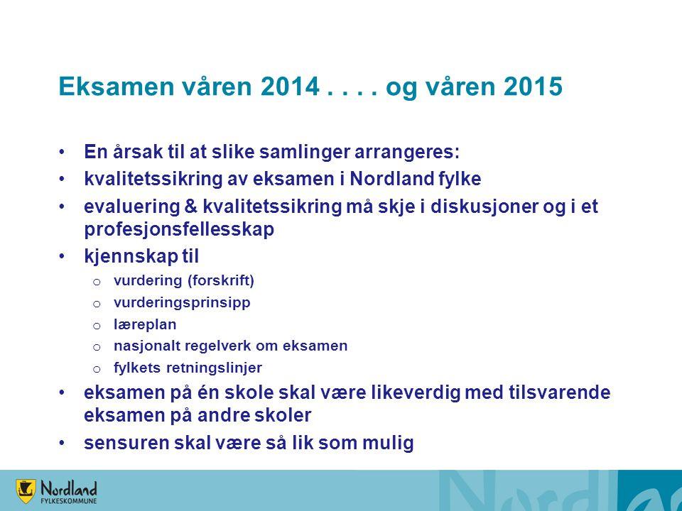 Eksamen våren 2014 . . . . og våren 2015 En årsak til at slike samlinger arrangeres: kvalitetssikring av eksamen i Nordland fylke.