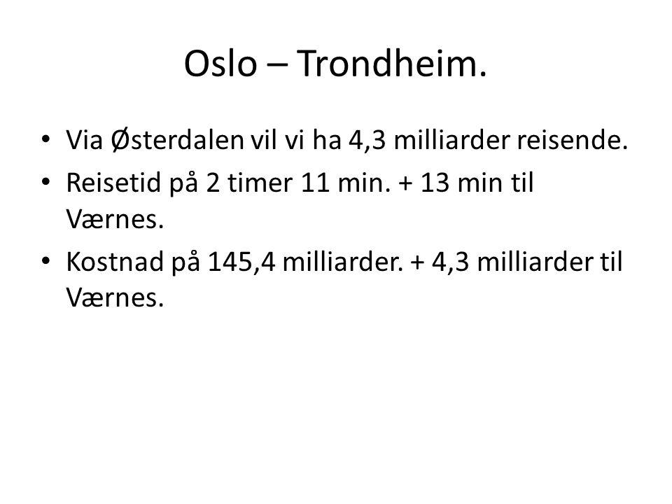Oslo – Trondheim. Via Østerdalen vil vi ha 4,3 milliarder reisende.