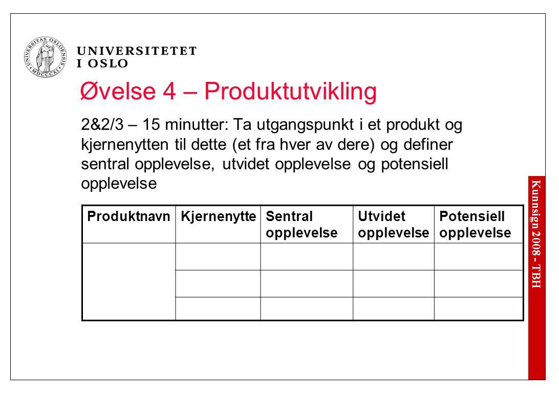 Øvelse 4 – Produktutvikling