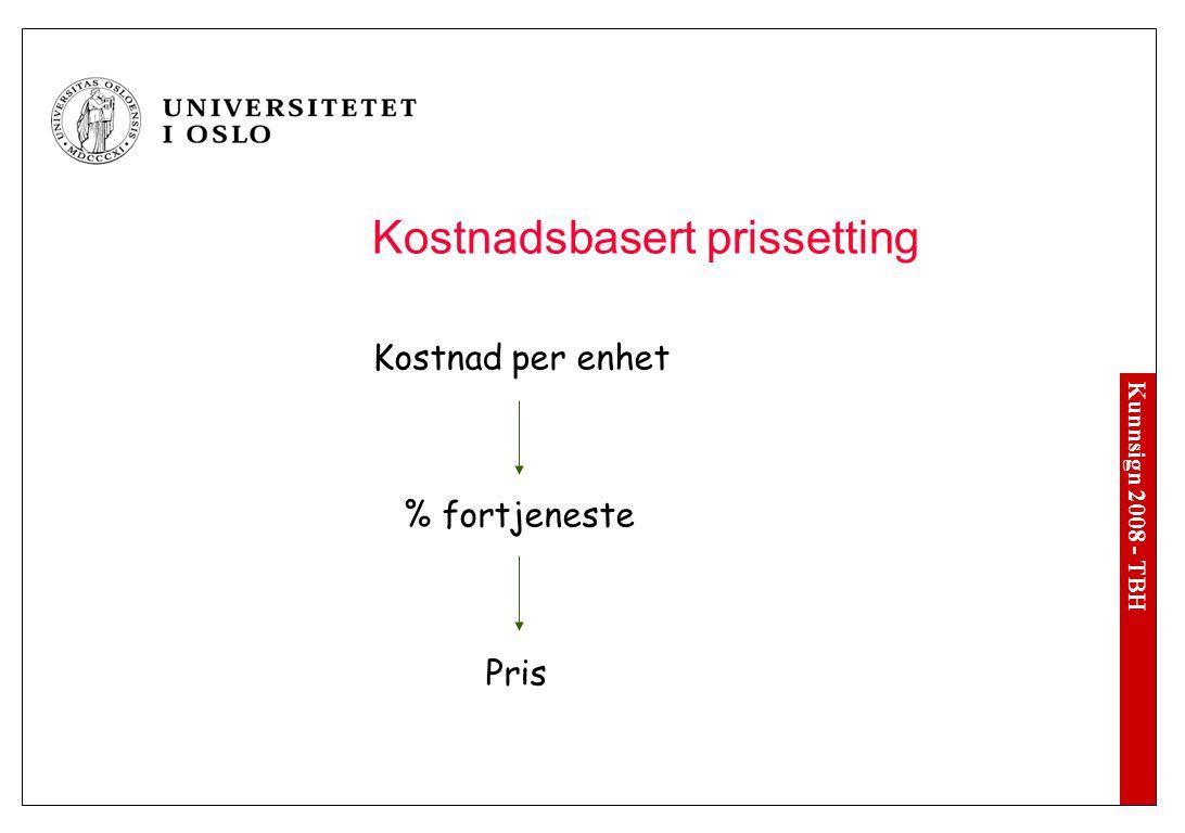 Prissetting Kostnadsbasert prising Markedsbasert prissetting