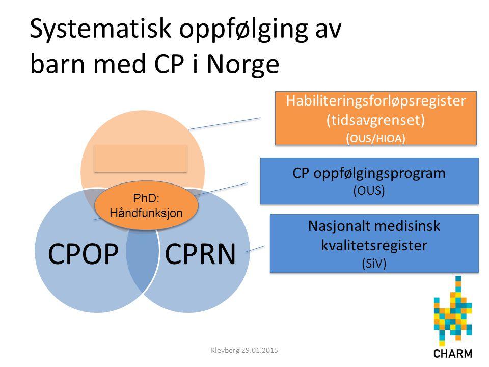 Systematisk oppfølging av barn med CP i Norge