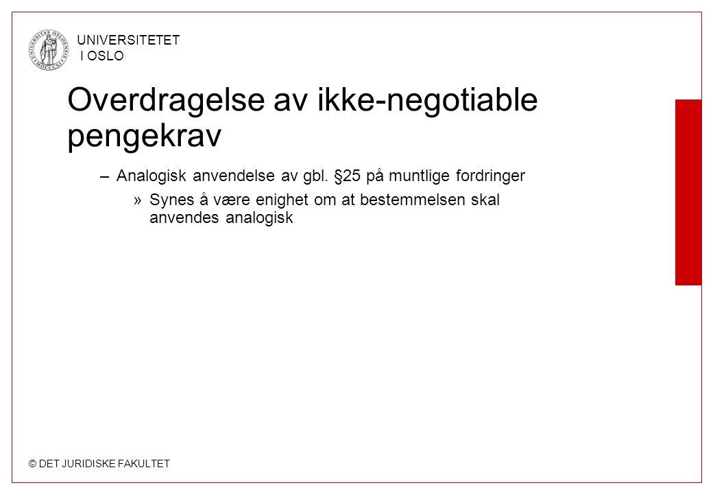 Overdragelse av ikke-negotiable pengekrav