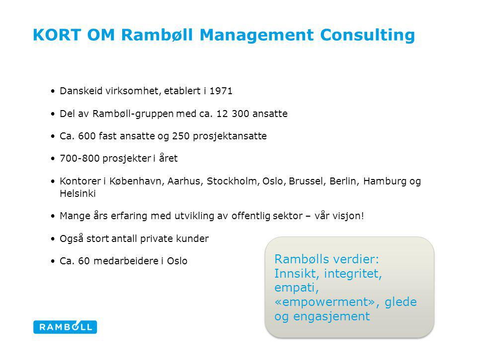 KORT OM Rambøll Management Consulting