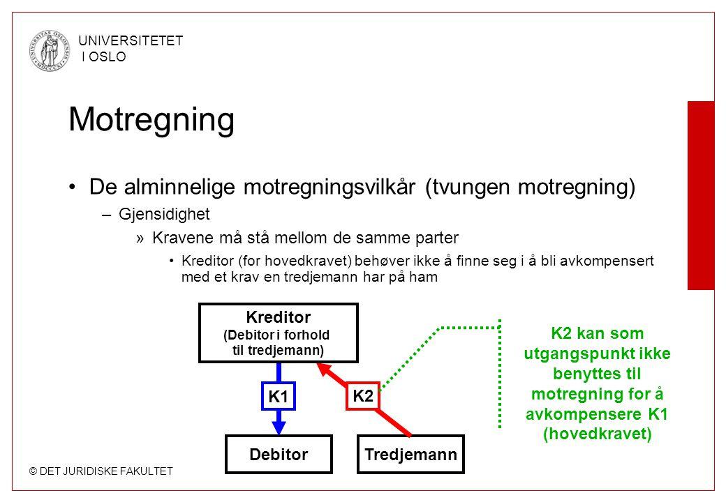 Motregning De alminnelige motregningsvilkår (tvungen motregning)