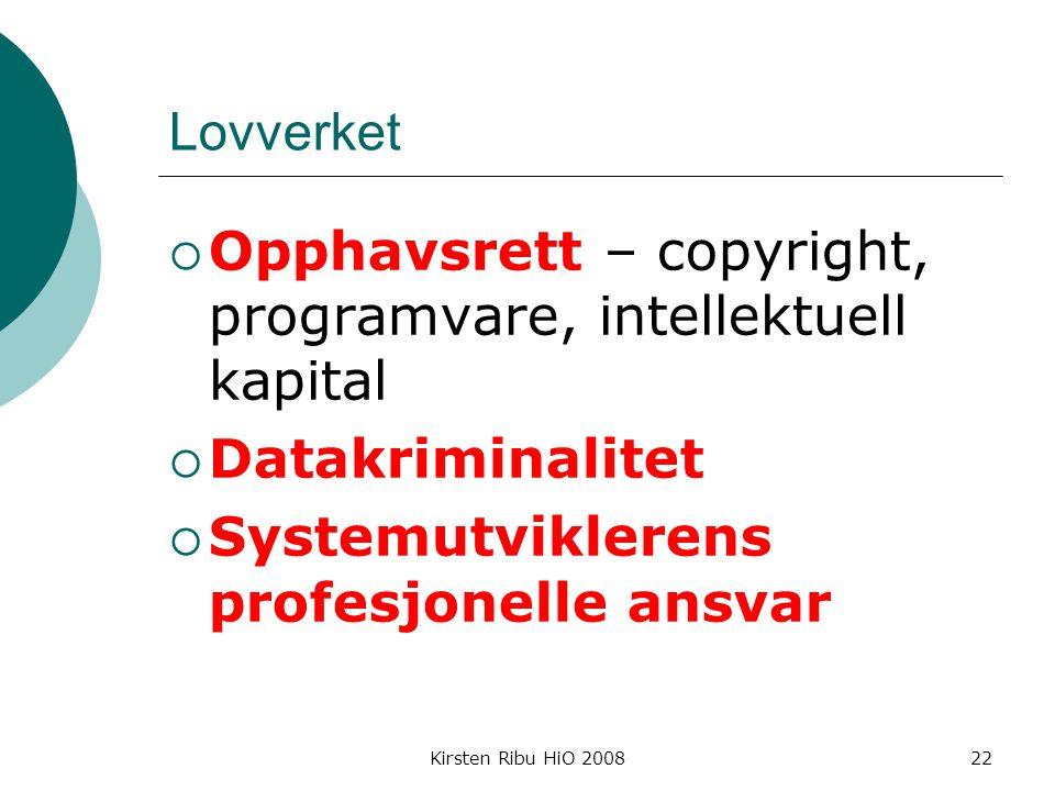 Opphavsrett – copyright, programvare, intellektuell kapital