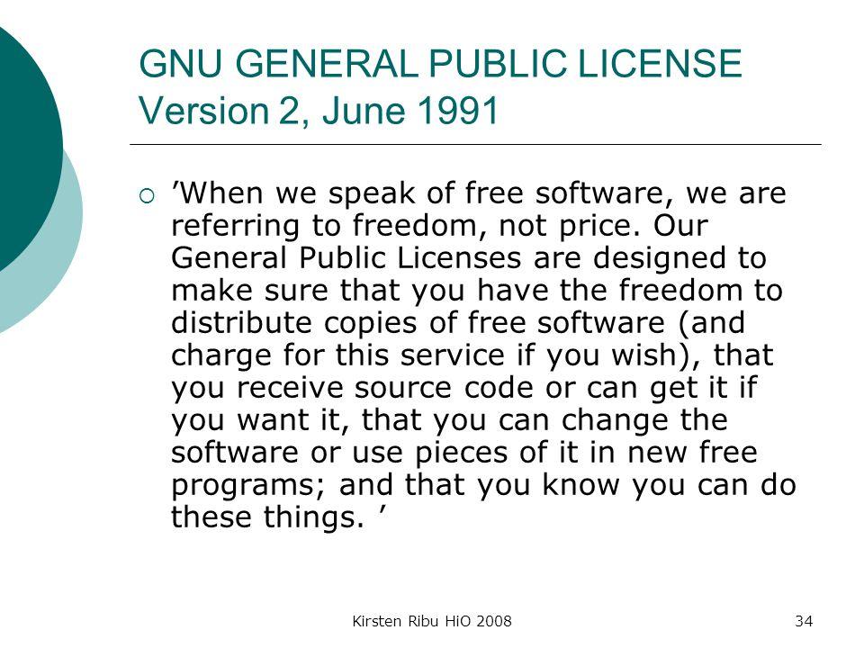 GNU GENERAL PUBLIC LICENSE Version 2, June 1991