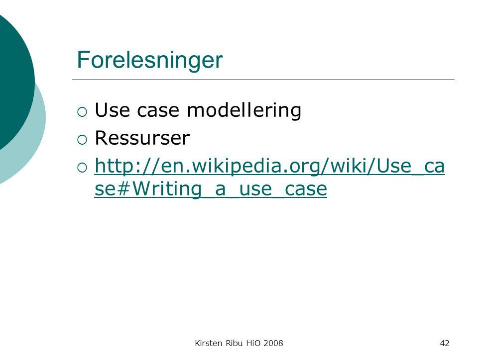 Forelesninger Use case modellering Ressurser