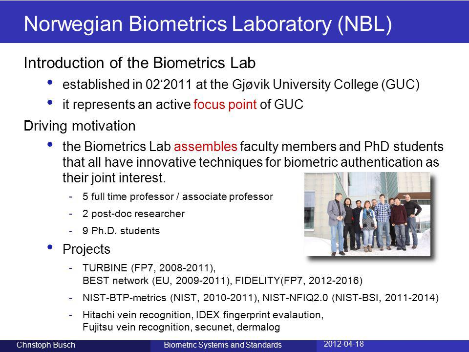 Norwegian Biometrics Laboratory (NBL)