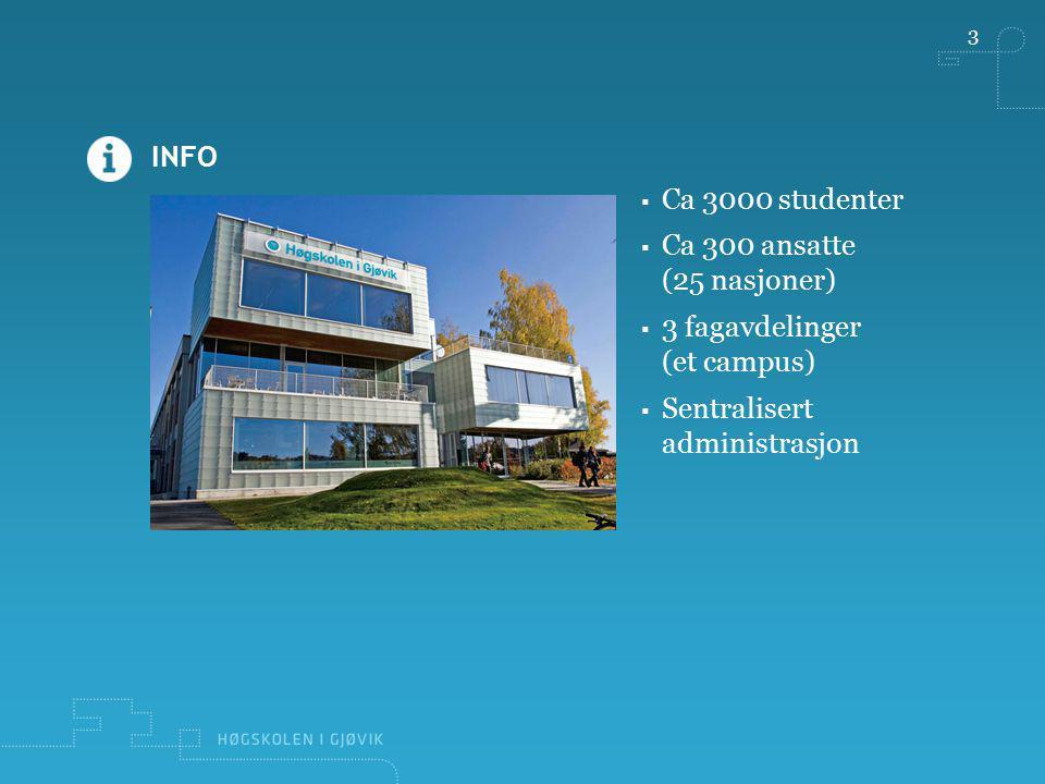 Ca 3000 studenter Ca 300 ansatte (25 nasjoner) 3 fagavdelinger (et campus) Sentralisert administrasjon.