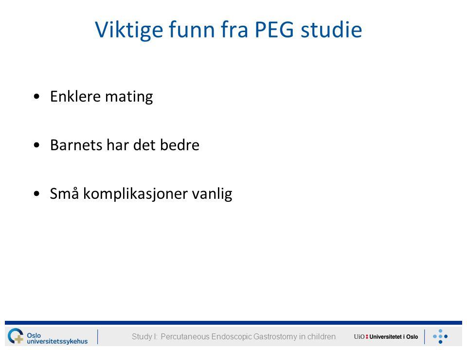 Viktige funn fra PEG studie