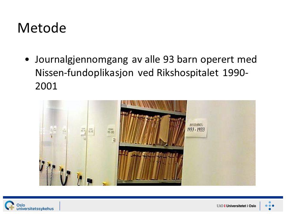 Metode Journalgjennomgang av alle 93 barn operert med Nissen-fundoplikasjon ved Rikshospitalet 1990-2001.