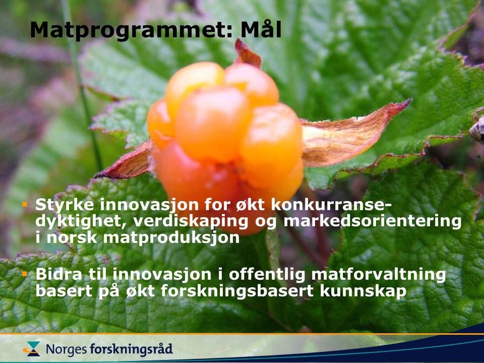Matprogrammet: Mål Styrke innovasjon for økt konkurranse-dyktighet, verdiskaping og markedsorientering i norsk matproduksjon.