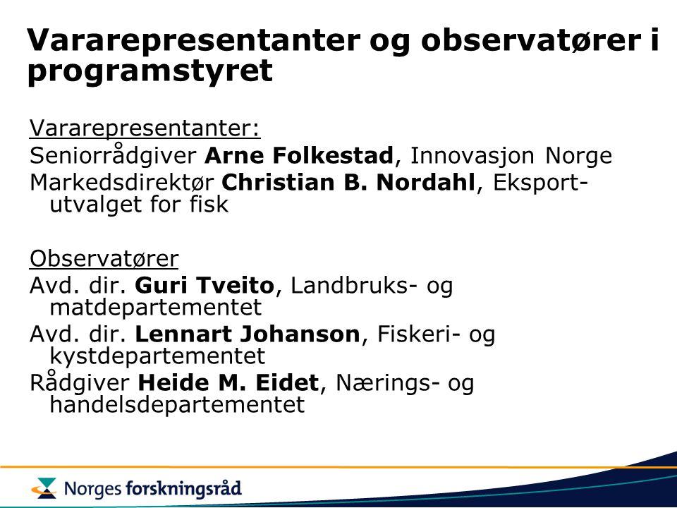 Vararepresentanter og observatører i programstyret