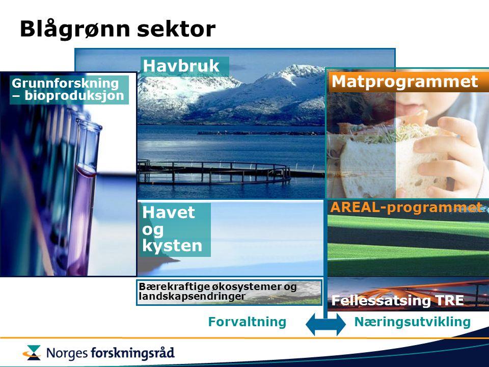 Blågrønn sektor Havbruk Matprogrammet Havet og kysten AREAL-programmet