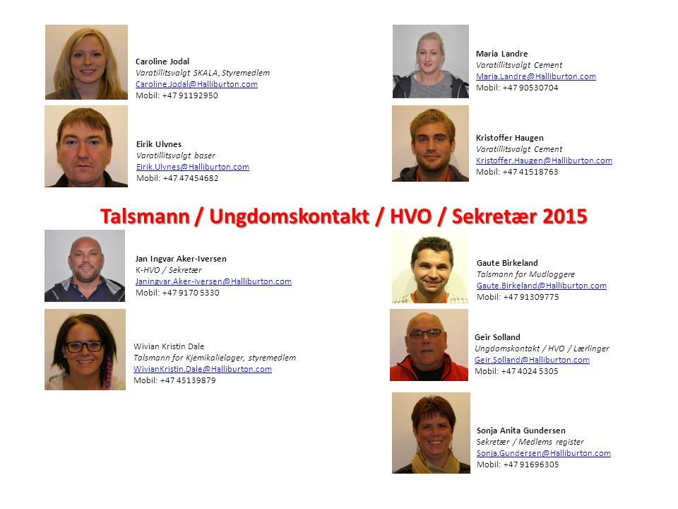 Talsmann / Ungdomskontakt / HVO / Sekretær 2015