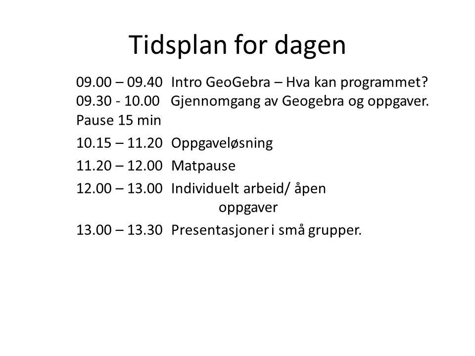 Tidsplan for dagen