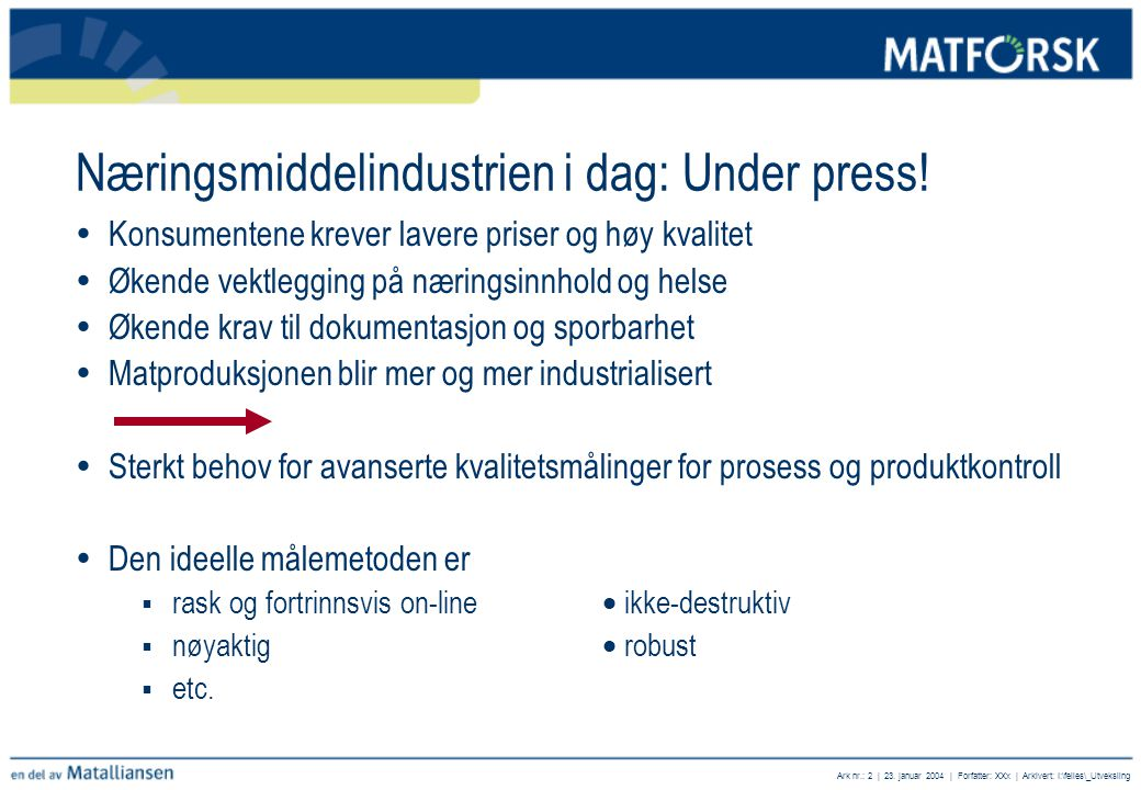 Næringsmiddelindustrien i dag: Under press!