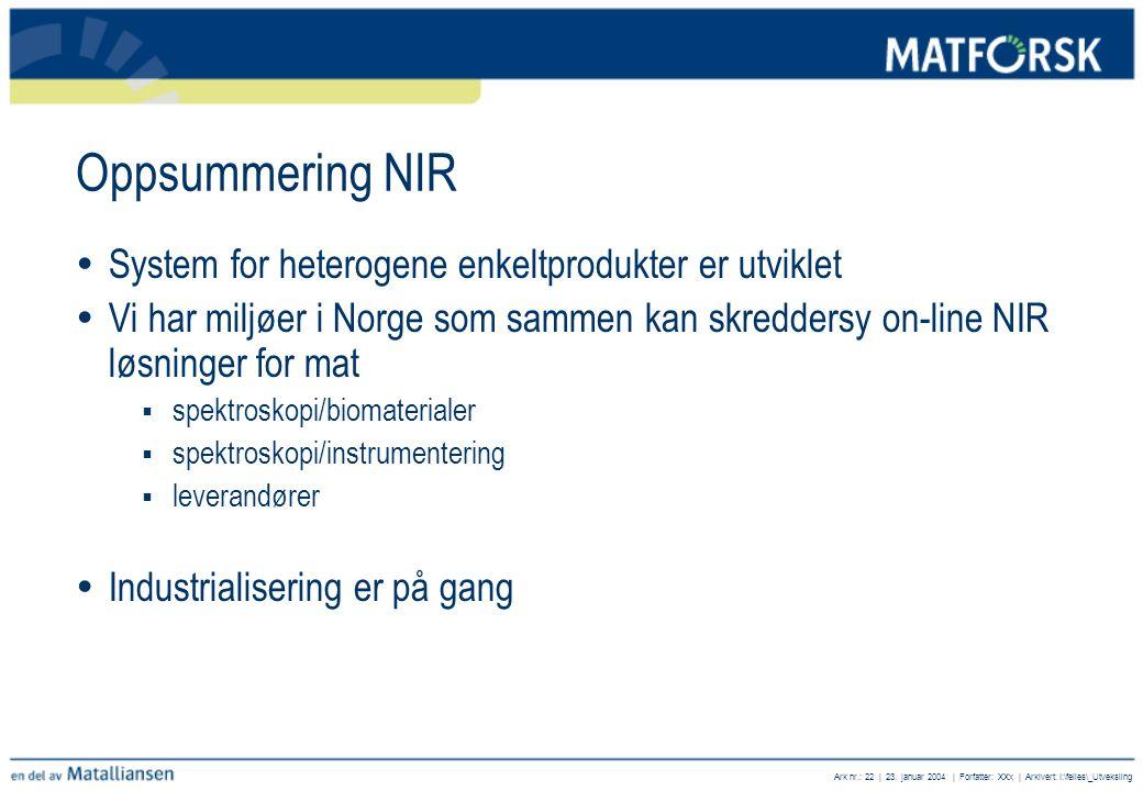 Oppsummering NIR System for heterogene enkeltprodukter er utviklet