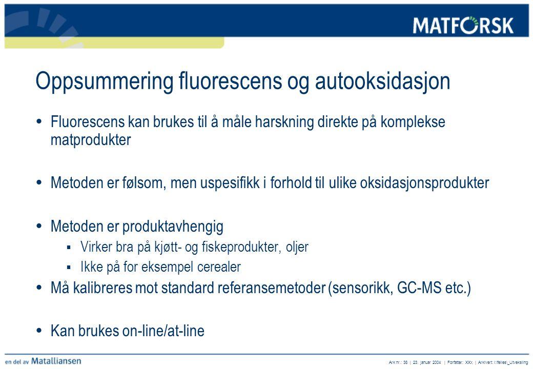 Oppsummering fluorescens og autooksidasjon