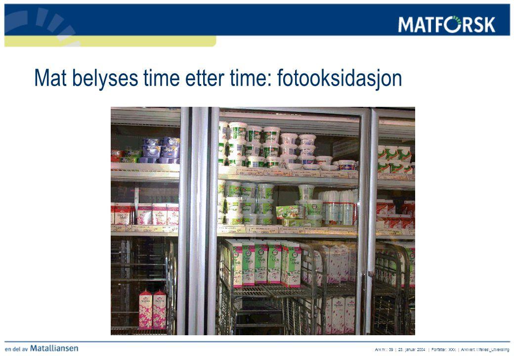 Mat belyses time etter time: fotooksidasjon