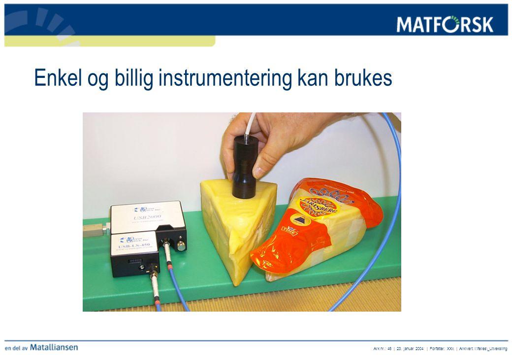 Enkel og billig instrumentering kan brukes