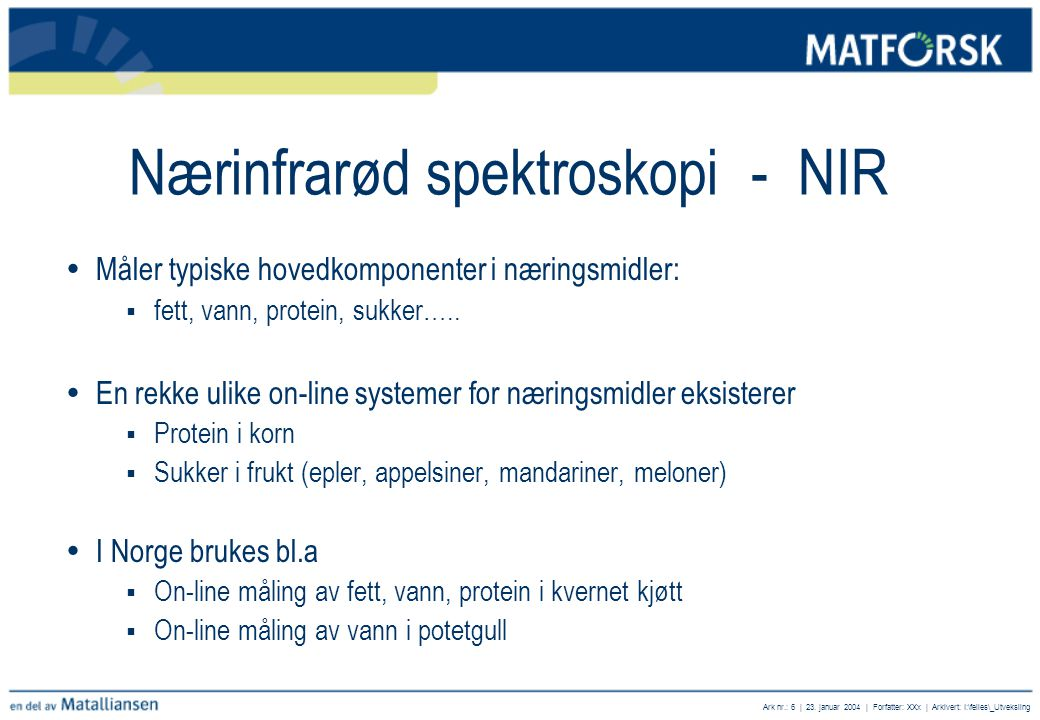 Nærinfrarød spektroskopi - NIR