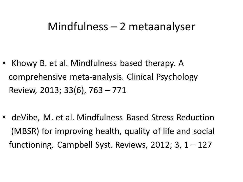 Mindfulness – 2 metaanalyser