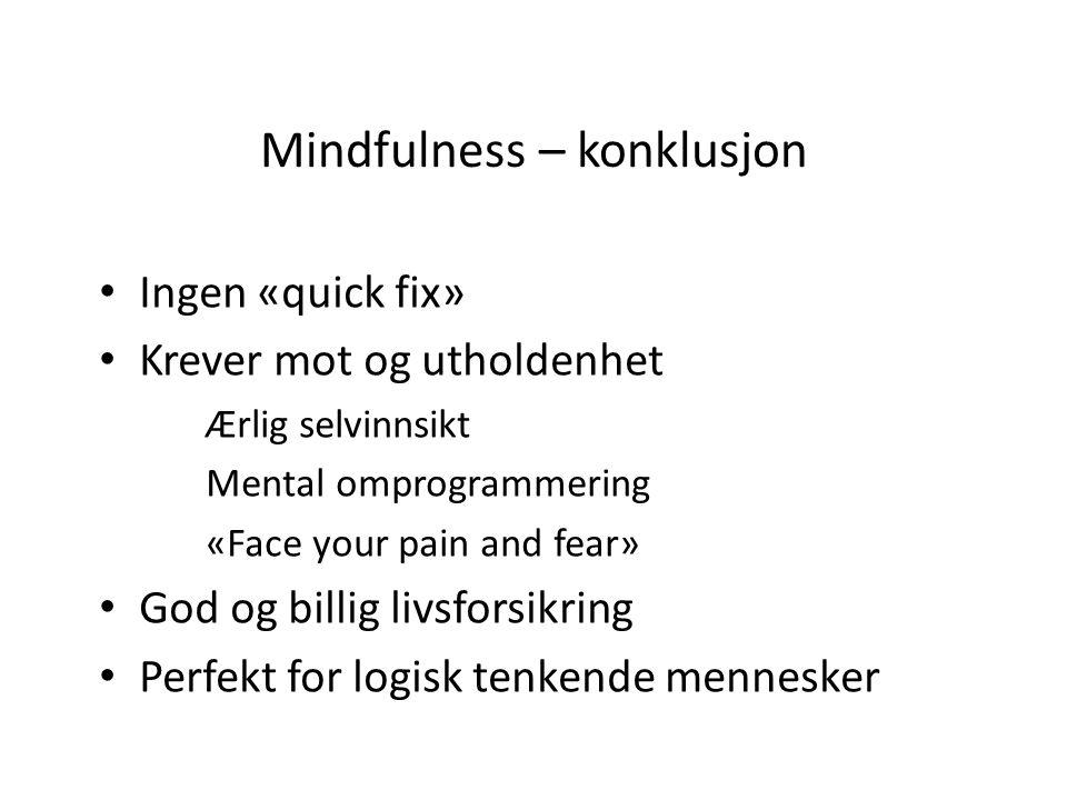 Mindfulness – konklusjon