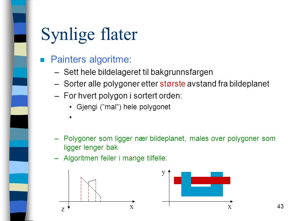 Synlige flater Painters algoritme:
