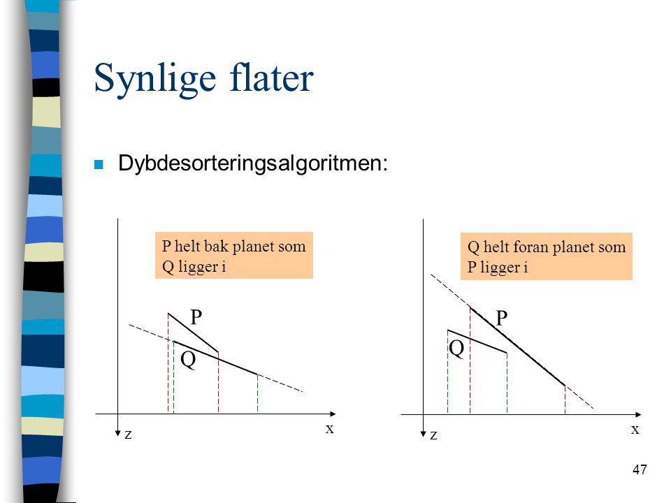 Synlige flater Dybdesorteringsalgoritmen: P P Q Q