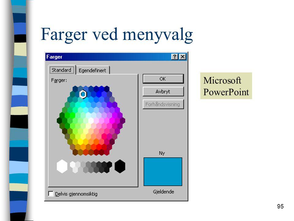 Farger ved menyvalg Microsoft PowerPoint