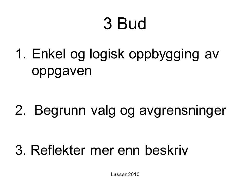 3 Bud Enkel og logisk oppbygging av oppgaven
