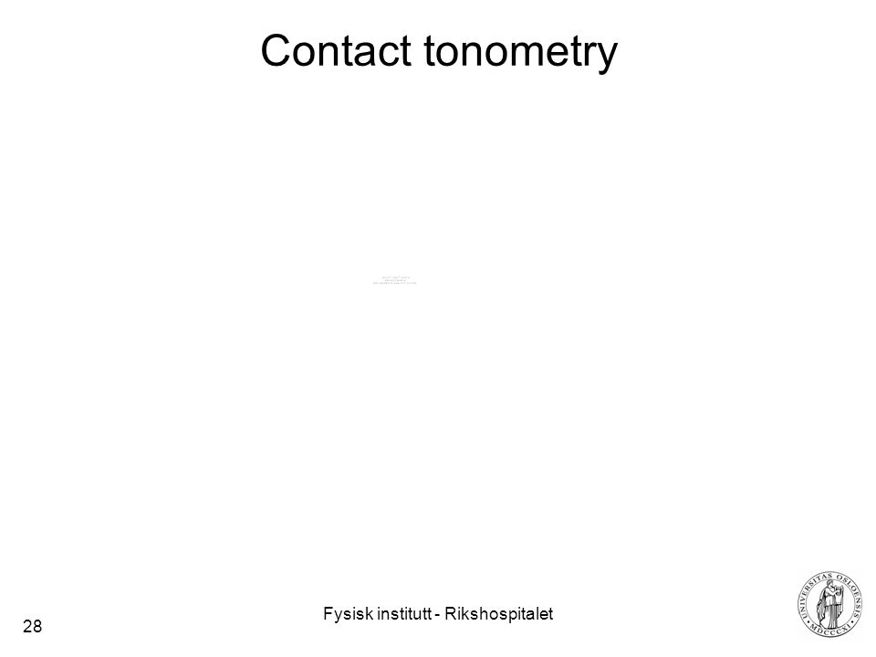 Contact tonometry Internal pressure can be calculated by measuring the necessary force F that can flatten a certain area (A) of the sphere p=F/A.