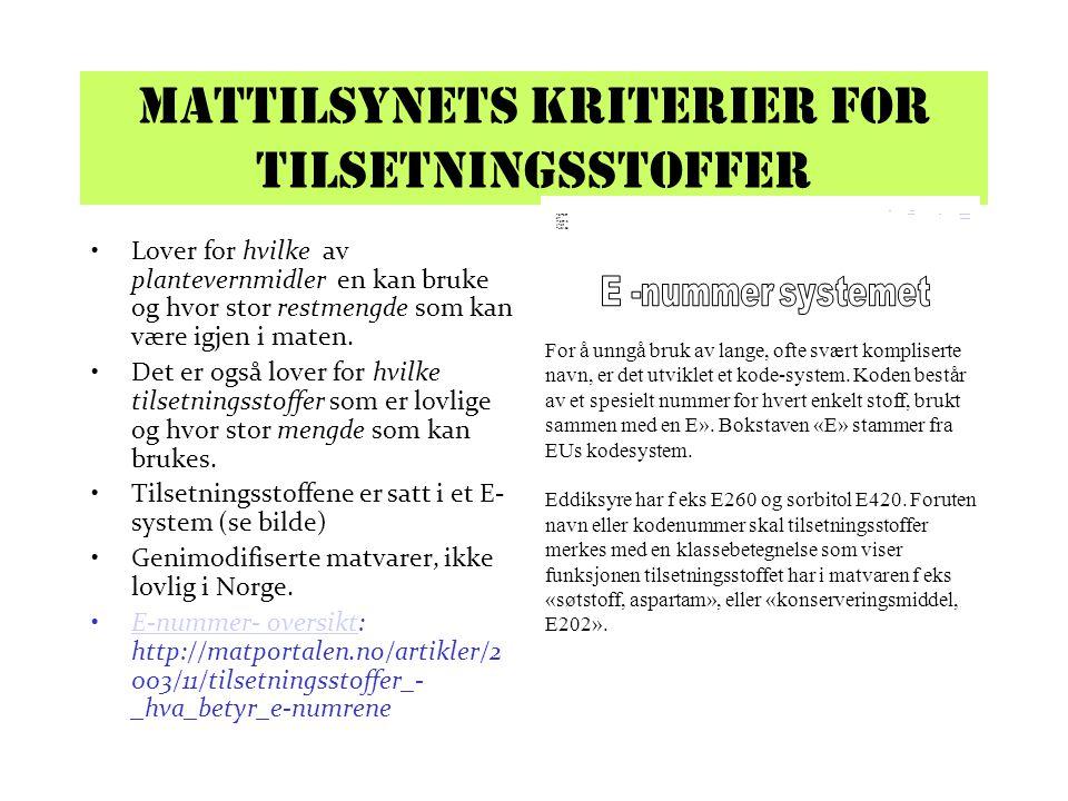 Mattilsynets kriterier for tilsetningsstoffer