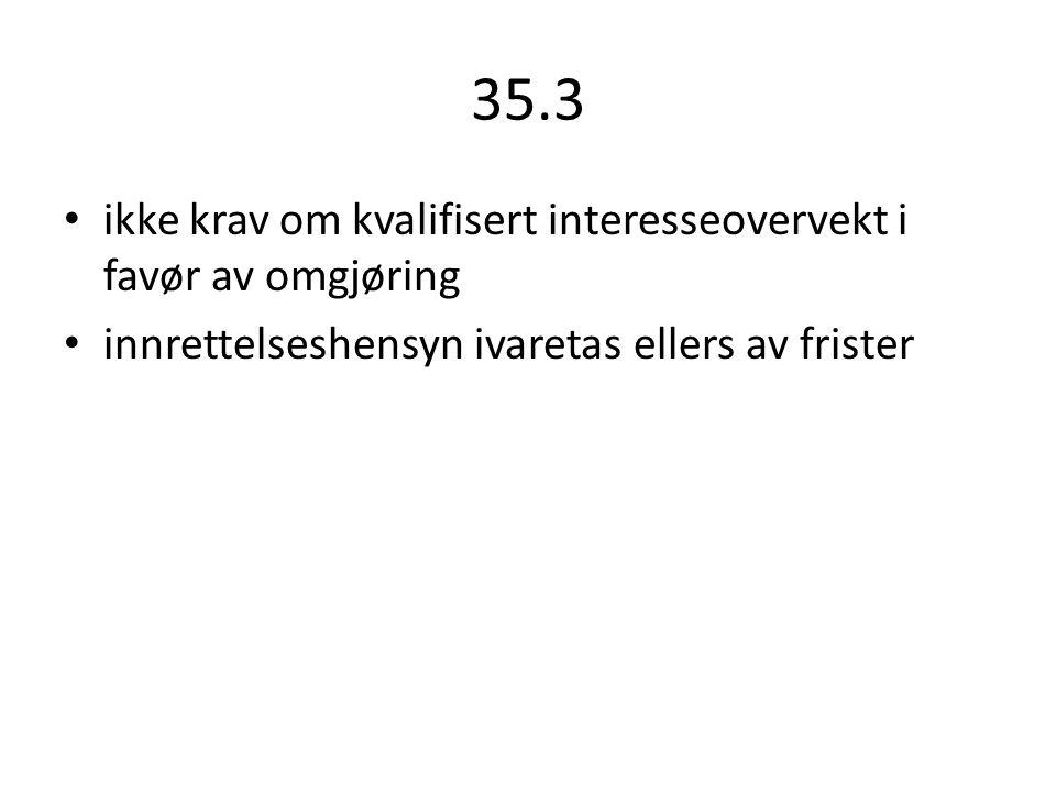 35.3 ikke krav om kvalifisert interesseovervekt i favør av omgjøring