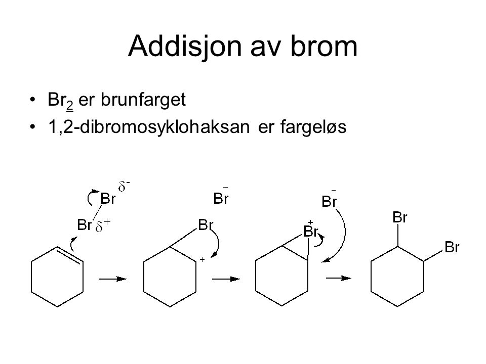 Addisjon av brom Br2 er brunfarget 1,2-dibromosyklohaksan er fargeløs
