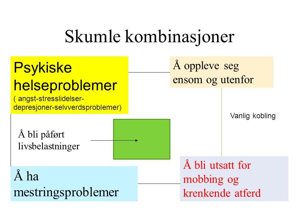Skumle kombinasjoner Psykiske helseproblemer ( angst-stresslidelser-depresjoner-selvverdsproblemer)